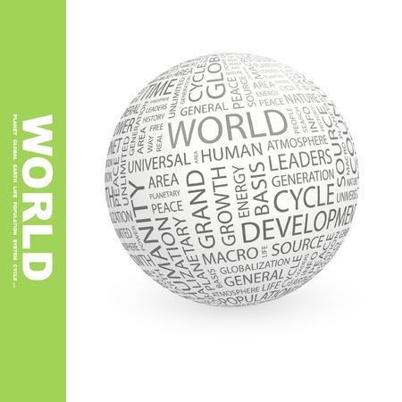 humanidad: MUNDO. Globo con t�rminos de asociaci�n diferente. Ilustraci�n vectorial de Wordcloud.