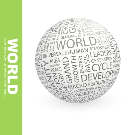 humanity: WORLD. Globe with different association terms. Wordcloud vector illustration.