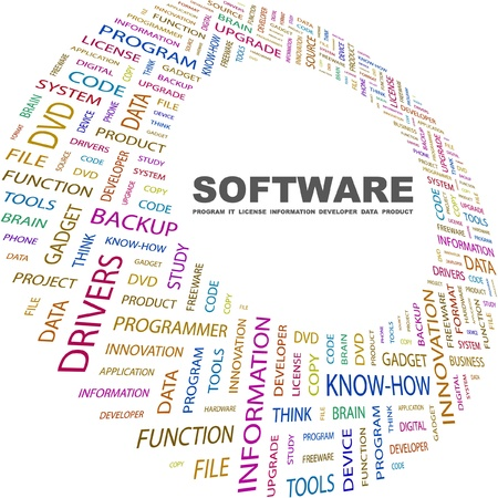 productivity system: SOFTWARE. Word collage on white background. Vector illustration. Illustration with different association terms.