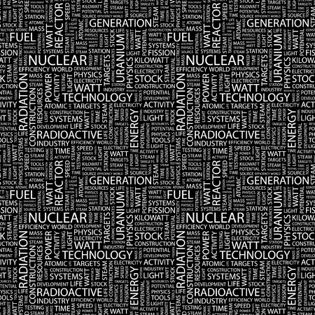 NUCLEAR. Seamless vector pattern with word cloud. Illustration with different association terms.   Illustration