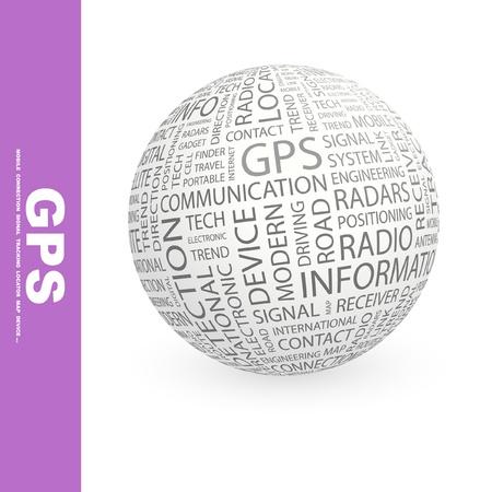 portable radio: GPS. Globo con t�rminos de asociaci�n diferente. Ilustraci�n vectorial de Wordcloud.   Vectores
