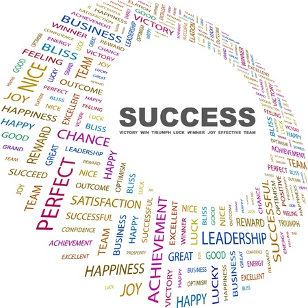 congratulations: SUCCESS. Word collage on white background. Vector illustration. Illustration with different association terms.