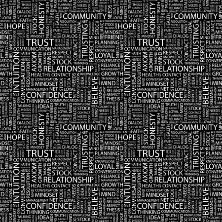 TRUST. Seamless vector pattern with word cloud. Illustration with different association terms. Stock Vector - 8891069