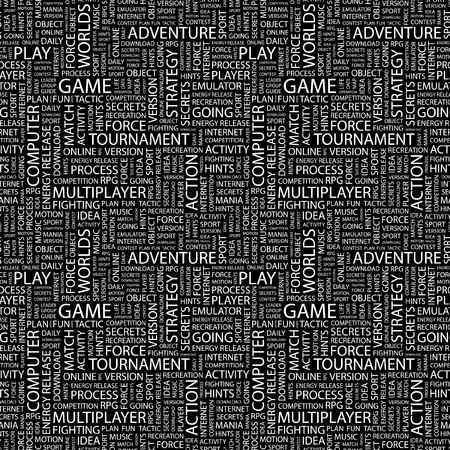GAME. Seamless vector pattern with word cloud. Illustration with different association terms.   Vector