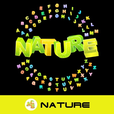 NATURE. Vector 3d illustration with colored alphabet.   Vector