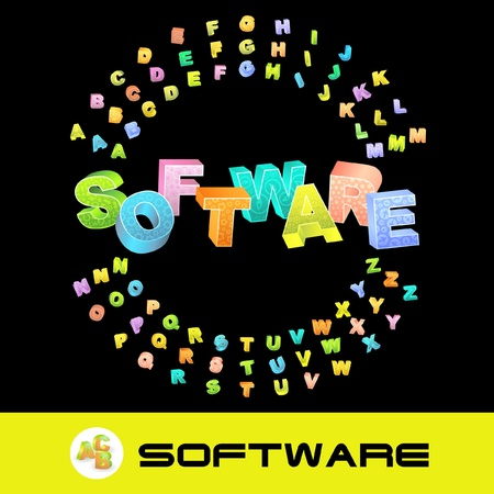 SOFTWARE. Vector 3d illustration with colored alphabet.   Vector