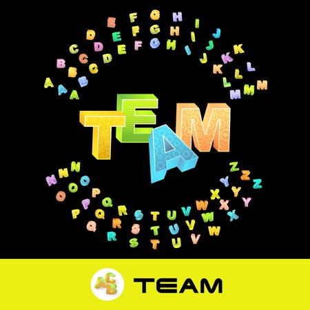 TEAM. Vector 3d illustration with colored alphabet. Stock Vector - 8891076