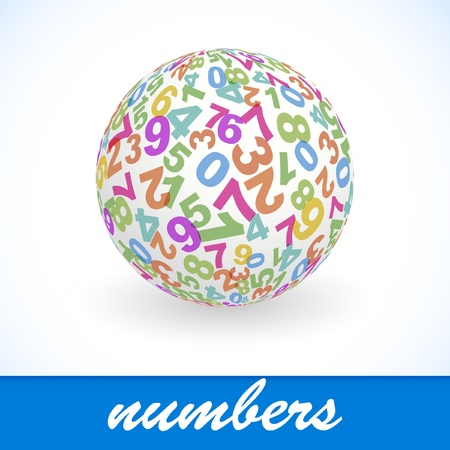 eight: Globe with number mix. Vector illustration.