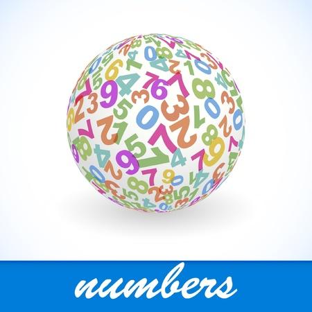 signos matematicos: Globo con mezcla de n�mero. Ilustraci�n vectorial.