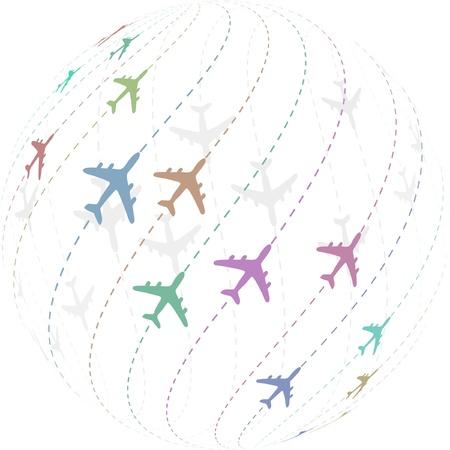 dotted background: Plane. Vector illustration.