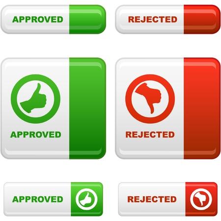 pas d accord: Ensemble de bouton approuv� et rejet�s.