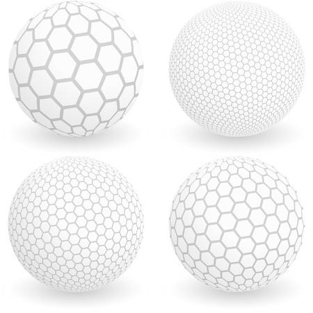 Globe avec les signes hexagone. Vector illustration.