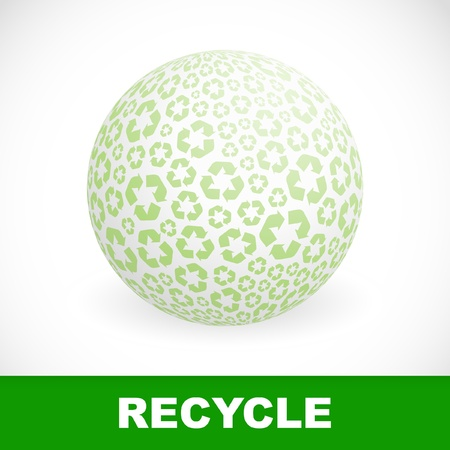 Globe with recycle symbols.   Vector