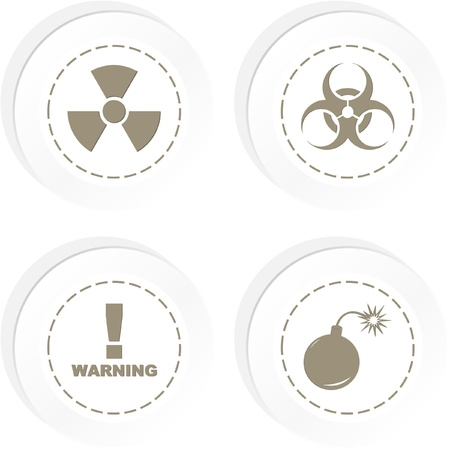 Warning signs. Sticker collection. Vector