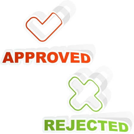 Approved and rejected sticker set. Vector