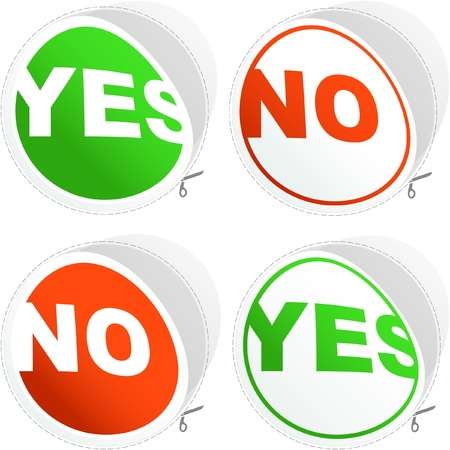 Yes and No sticker set. Stock Vector - 8891189
