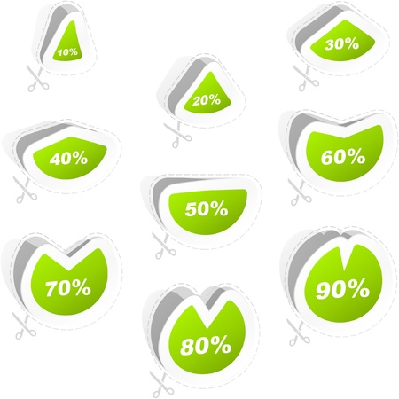 Discount sticker templates with different percentages   Stock Vector - 9142374