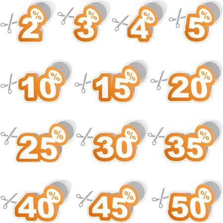 Goedkope sticker sjablonen met verschillende percentages