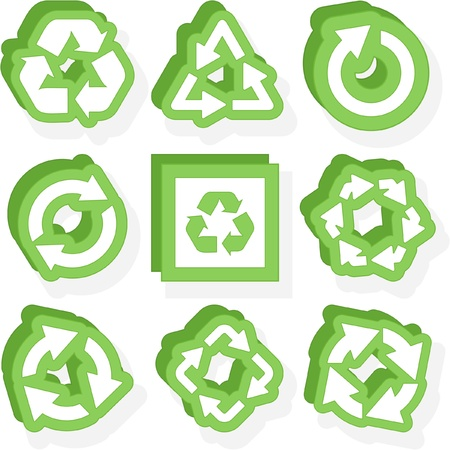 arow: Recycle symbol. Vector set.