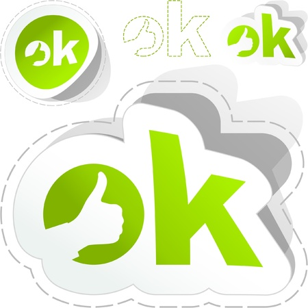 OK. Sticker set. Stock Vector - 8890928
