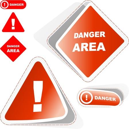 Warning vector sticker set.