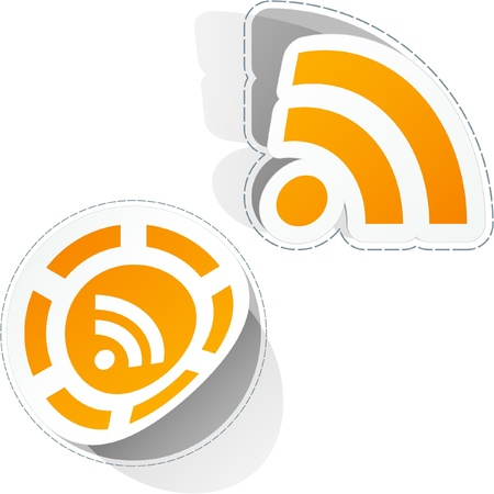blogged: RSS. Sticker set. Illustration