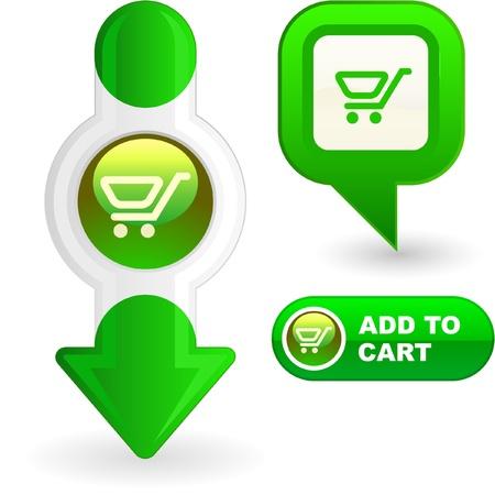Shopping cart. Vector button set. Stock Vector - 8890895