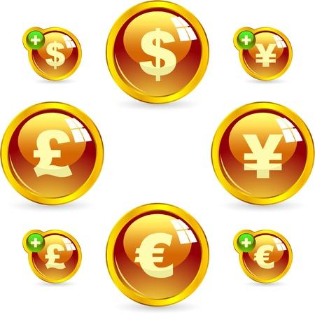euro teken: Vector dollar, euro, yen en pond knop set. Stock Illustratie