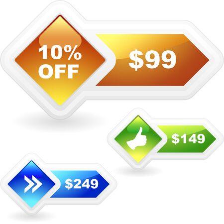 Vector set of sale banner. Stock Vector - 8890969