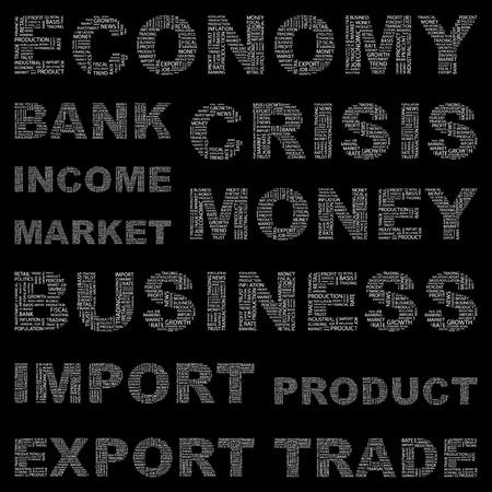 political system: ECONOM�A. Collage de palabra sobre fondo negro. Ilustraci�n vectorial. Ilustraci�n con t�rminos de asociaci�n diferente.