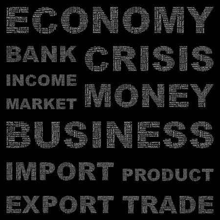 fiscal: ECONOMY. Word collage on black background. Vector illustration. Illustration with different association terms.    Illustration
