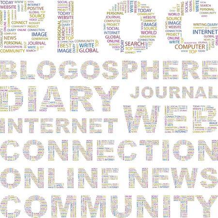 millones: BLOG. Collage de palabra sobre fondo blanco. Ilustraci�n vectorial. Ilustraci�n con t�rminos de asociaci�n diferente.    Vectores