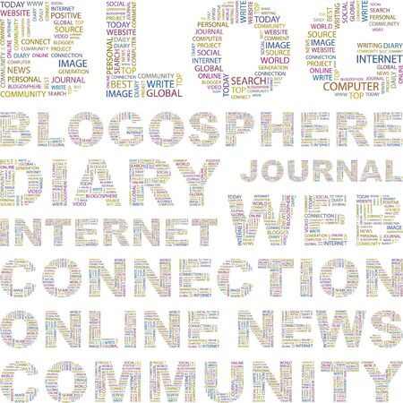 blog design: BLOG. Word collage on white background. Vector illustration. Illustration with different association terms.    Illustration