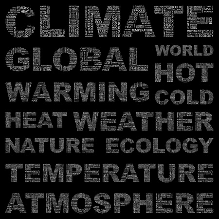 CLIMATE. Word collage on black background. Vector illustration. Illustration with different association terms.    Stock Vector - 9142094