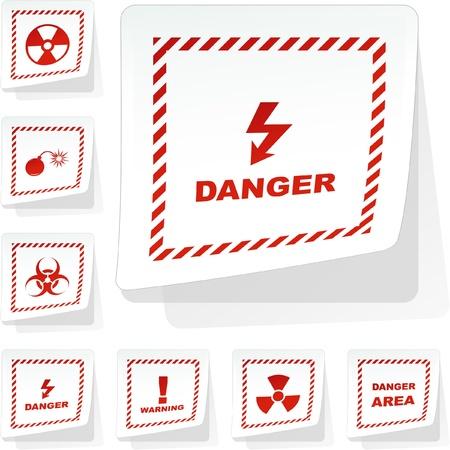 Warning vector stickers. Stock Vector - 8891049
