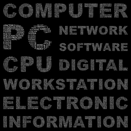 office automation: COMPUTER. Word collage on black background. Vector illustration. Illustration with different association terms.