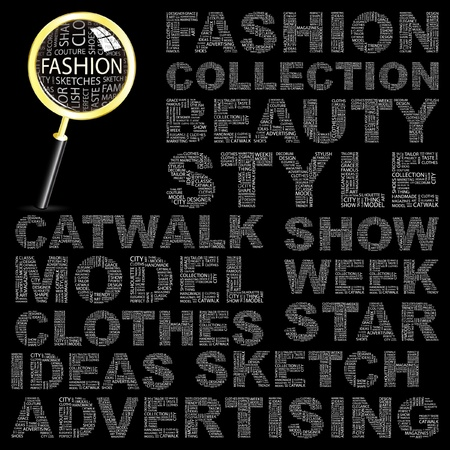 FASHION. Word collage on black background. Vector illustration. Illustration with different association terms.