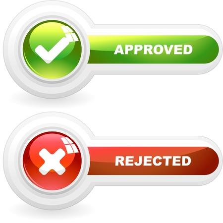 no pase: Botones aprobados y rechazados. Conjunto de vectores.