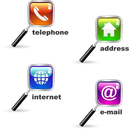 icono fax: Domicilio, tel�fono, internet y correo electr�nico. Conjunto de iconos