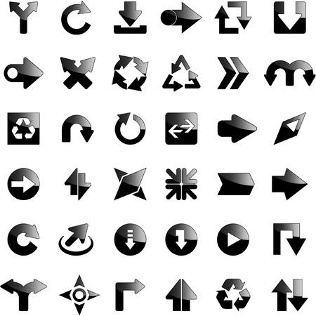 Set di frecce. Illustrazione vettoriale.
