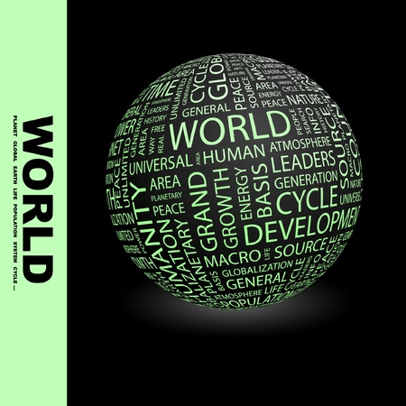 WORLD. Globe with different association terms. Wordcloud vector illustration.   Stock Vector - 9142461