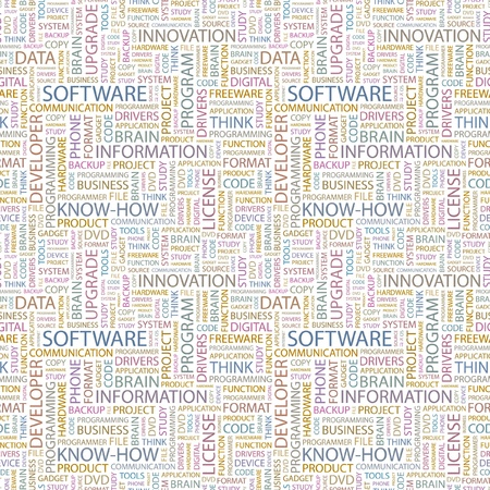 SOFTWARE. Seamless vector pattern with word cloud. Illustration with different association terms.   Vector