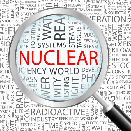 NUCLEAR. Magnifying glass over background with different association terms. Vector illustration.   Illustration