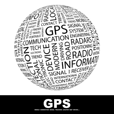 GPS. Globe with different association terms. Wordcloud vector illustration.   Vector