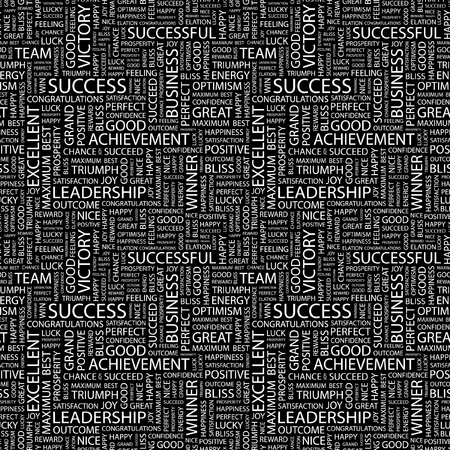 keywords backdrop: SUCCESS. Seamless vector pattern with word cloud. Illustration with different association terms.
