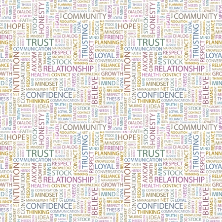 TRUST. Seamless vector pattern with word cloud. Illustration with different association terms.   Stock Vector - 9142490