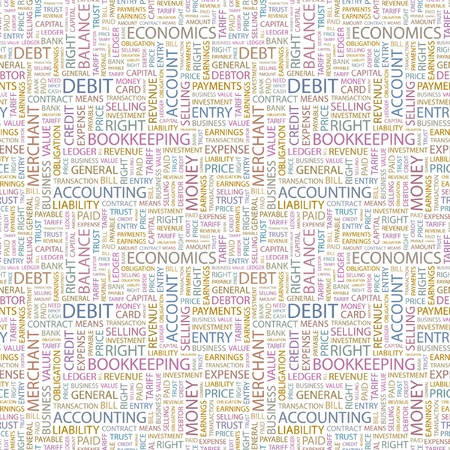 general store: DEBIT. Seamless vector pattern with word cloud. Illustration with different association terms.
