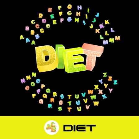 DIET. Vector 3d illustration with colored alphabet.  Vector