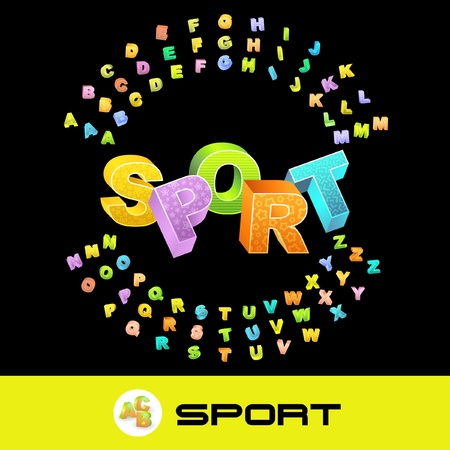 SPORT. Vector 3d illustration with colored alphabet. Stock Vector - 8898680