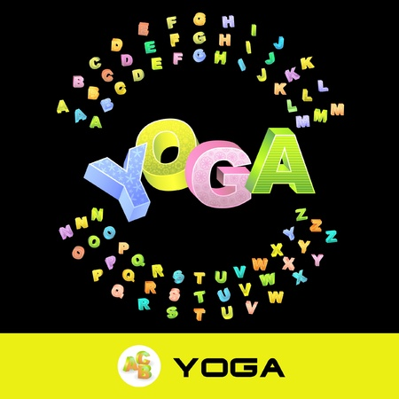 YOGA. Vector 3d illustration with colored alphabet.   Stock Vector - 8898678